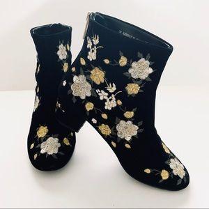 Topshop Blossom Black Velvet Embroidered Boots